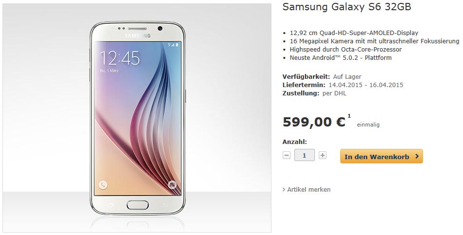 Deal: Samsung Galaxy S6 für nur 599 Euro