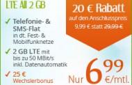 Aktion bis 15.04.: Telefonie-Flat, SMS-Flat, 2GB LTE bis zu 50 Mbit/s im o2-Netz für rechnerisch nur 8,49 € pro Monat