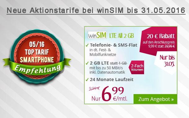 Aktion bis 31.05.: Telefonie-Flat, SMS-Flat, 2GB LTE im o2-Netz monatlich kündbar für nur 6,99 € pro Monat